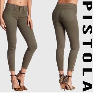 Pistola Green Ankle Zip Fray Jeans